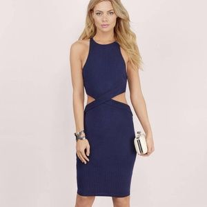 Navy Ribbed Cut Out Bodycon Dress